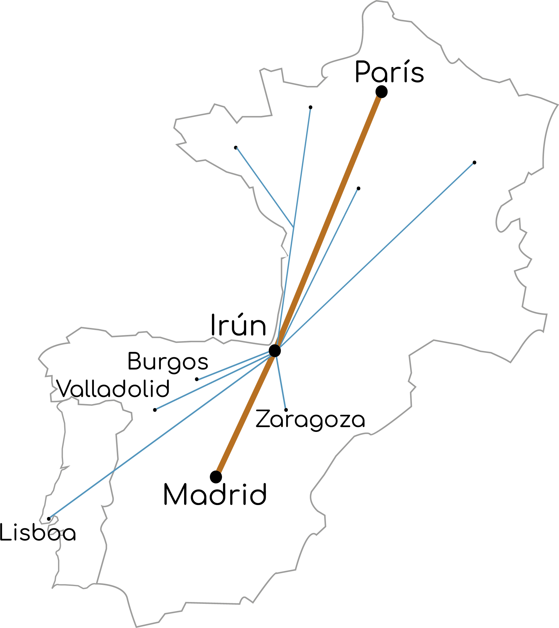 Mapa de la ruta de transporte Madrid-Irun-París